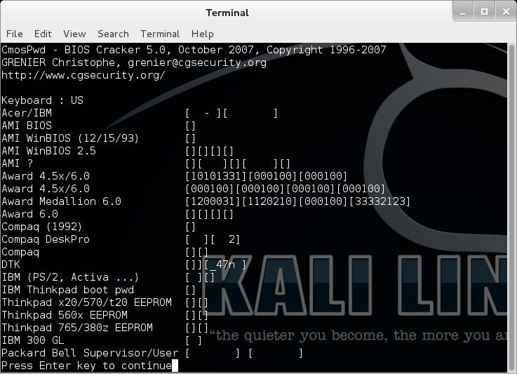 Image result for cmospwd KALI LINUX